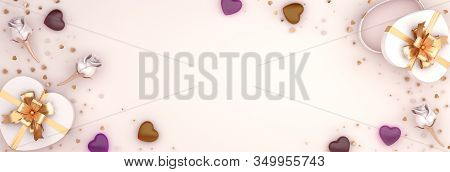 Happy Valentines Day, Valentines Day Background, Rose Flower Heart Shape Gift Box, Chocolate Candy,