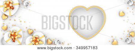 Happy Valentines Day, Valentines Day Background, White Flower Heart Shape Gift Box, Window Frame, Go