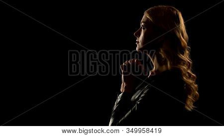 Female Sinner Praying Looking Up, Isolated On Black Background, Confession