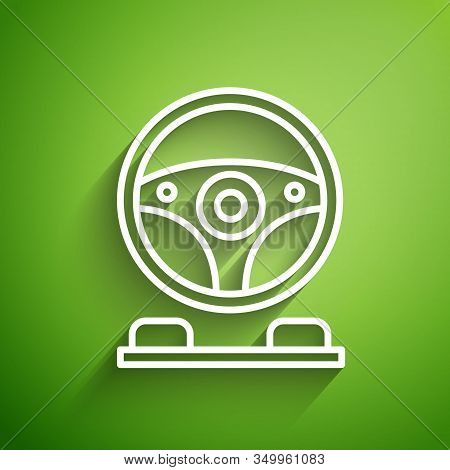 White Line Racing Simulator Cockpit Icon Isolated On Green Background. Gaming Accessory. Gadget For