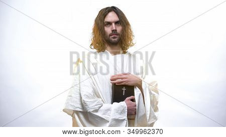 God Jesus Holding Holy Bible, Prophecies For Christians, New Testament Book