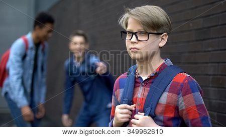Evil Teenagers Laughing At New Boy In School, Calling Names, Verbal Bullying
