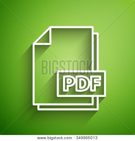 White Line Pdf File Document. Download Pdf Button Icon Isolated On Green Background. Pdf File Symbol