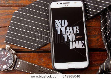 Rio De Janeiro, Brazil - February 9, 2020: Conceptual Film Photography 007 No Time To Die. British-a