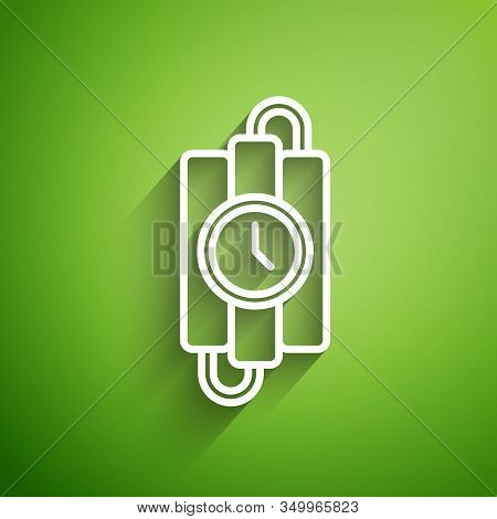 White Line Detonate Dynamite Bomb Stick And Timer Clock Icon Isolated On Green Background. Time Bomb