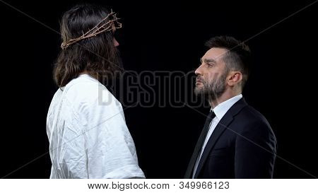 Crying Male Looking At Messiah In Crown Of Thorns On Dark Background, Support