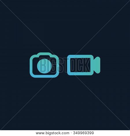 Video And Photo Camera Icon In Flat Design. Stock Vector Illustration Isolated On Blue Background.