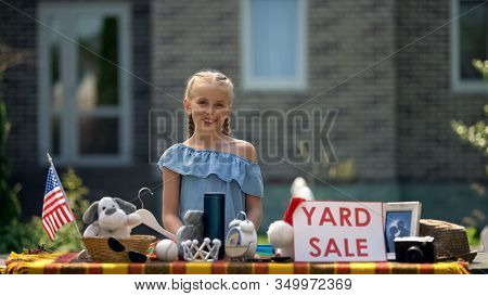 Girl Selling Old Toys On Yard Sale, Earning Pocket Money, Young Business Lady