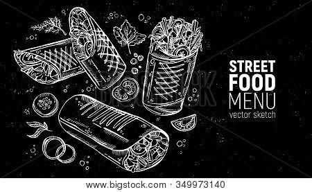 Set Of Street Food. Sandwich, Fast Food, Burrito, Shawarma, Gyros, Pita Bread, Kebab, Doner. Hand Dr