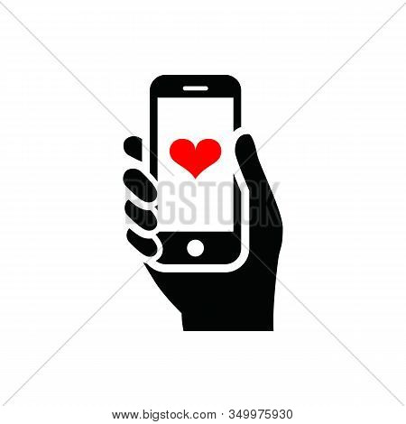 Isolated Cellphone Icon With A White Background. Phone Icon With Heart Notification. Cellular Icons