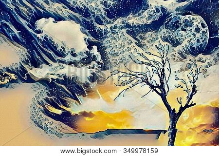 Abstract painting. Lonely tree, full moon in cloudy sky. Watercolor. 3D rendering