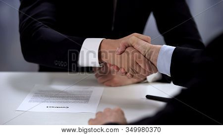 Businessmen Shaking Partners Hand, Signed Contract, Cooperation Close-up
