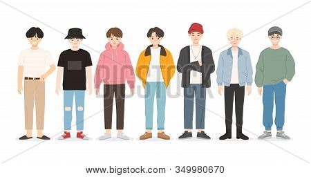 Group Of Young People Flat Cartoon Characters Isolated On White Background. Happy Teenager In Casual