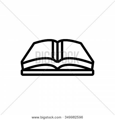 Black Line Icon For Open-book Open Book Magazine Library Textbook Publication Encyclopedia Education