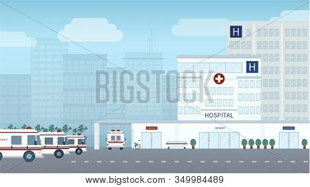 Hospital Building Or Exterior In City Vector Illustration