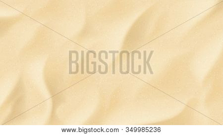 Realistic Texture Of Beach Sand. Vector Illustration With Top Vie On Realistic Ocean, River Or Sea S