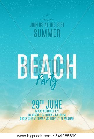 Summer Beach Party Poster. Vector Illustration With Top View On Ocean Scene With Soft Waves On Coast