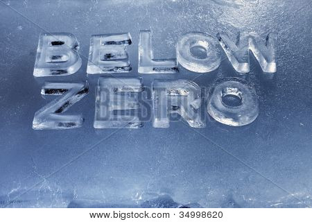 Words Below Zero written with real ice letters.