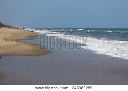 Landscape Of Brilliant Blue Sea Water Wave On Beach Against Blue Empty Sky In Bay Of India, Marina B