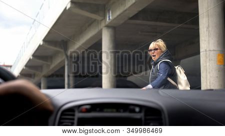 Inexperienced Automobilist Driving Car City, Scared Woman Running Away, Danger
