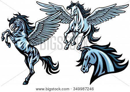 Flying Pegasus Horse Mustang Running Rearing Vector Mascot Logo Design Illustration Set Premium Coll