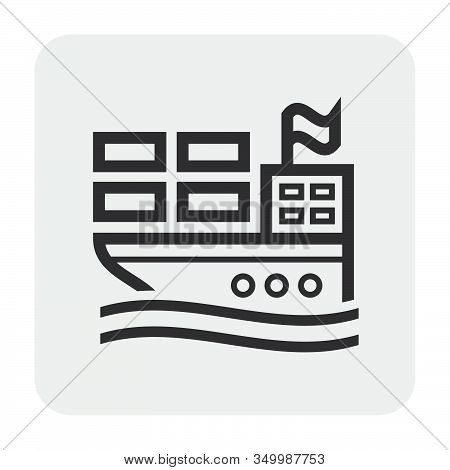 Cargo Ship And Cargo Container Icon Design, For Shipping Work.
