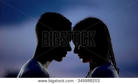 African Couple Putting Foreheads Together, Promising Love Forever, Forgiveness