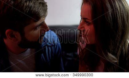 Man Tenderly Looking At Wifes Eyes, True Feelings, Feeling Love And Affection