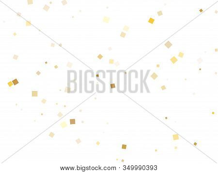 Glossy Gold Square Confetti Tinsels Falling On White. Chic Christmas Vector Sequins Background. Gold