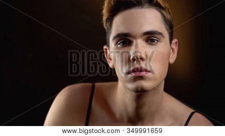 Seductive Male Transgender In Female Dress Looking At Camera, Lgbt Society