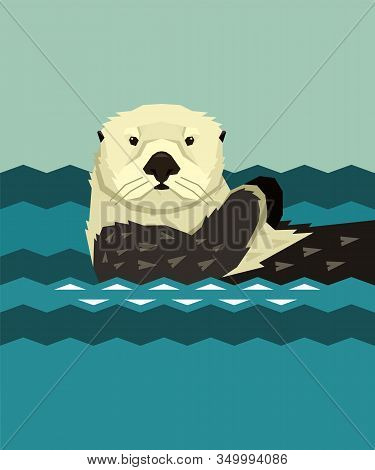 Sea Otter Floating In The Water Wild Animals Cartoon Vector Illustration Geometric Style