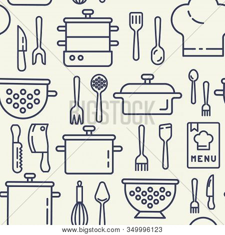 Kitchen Utensils Icons Pattern. Kitchenware Seamless Background. Seamless Pattern Vector Illustratio