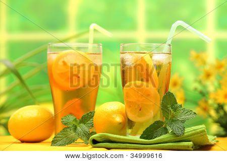 Summer lemon ice tea,Closeup.