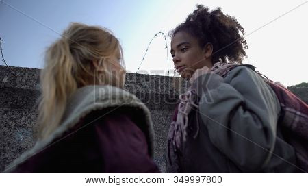 Teen Refugee Girls Standing With Bag, Planning Escape From Warring Country