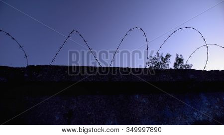 Barbed Wire Fence, Symbol Of Freedom Restriction, Illegal Labs, Refugee Camp