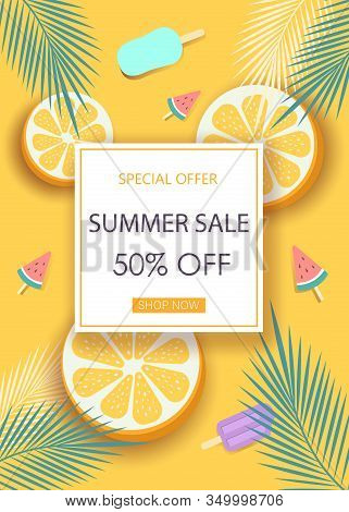 Super sale banner with symbols for summer time such as oranges, ice-cream.Vector illustration of discount template card, Hello Summer, summer time, summer day, summer day background, summer banners, summer flyer, summer design, summer background.