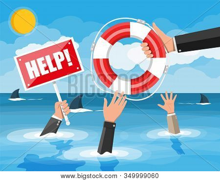 Drowning Businessman In Sea With Sharks Getting Lifebuoy From Another Man. Helping Business To Survi