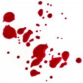 Splattered blood stains on a white background poster