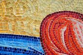 blue red yellowr mosaic good for backgrounds poster