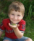 an excited little boy holding a frog. poster
