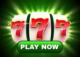 Golden Slot Machine Wins The Jackpot. Button Play Now. Big Win Concept.