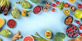 Vegan Food Panorama, Healthy Diet Background. Fruits, Vegetables, Nuts, Legumes, Mushrooms, Shot Fro