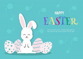 Happy Easter holiday Illustration - White Rabbit Bunny on Blue Background. Happy Easter holiday,easter bunny holiday, easter background, easter design holiday. Vector easter illustration.