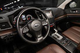 Novosibirsk, Russia - December 21, 2019:  Subaru Outback, Black Luxury Car Interior - Dashboard, Pla