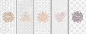 Subtle Vector Seamless Pattern Collection. Set Of Elegant Geometric Background Swatches With Classic