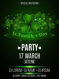 Saint Patrick's Day Party Flyer. Clovers With Abstract Lights Bokeh. Banner Ribbon With Text. Dj And