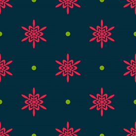 Winter Seamless Pattern. Geometric Snowflakes Texture. Cute Christmas Background With Red Snowflakes