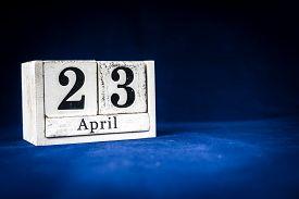 April 23rd, Twenty-third Of April, Day 23 Of Month April - Rustic Wooden White Calendar Blocks On Da