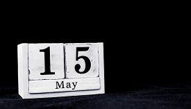 May 15th, Fifteenth Of May, Day 15 Of Month May - Vintage Wooden White Calendar Blocks On Black Back