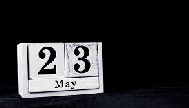 May 23rd, Twenty-third Of May, Day 23 Of Month May - Vintage Wooden White Calendar Blocks On Black B